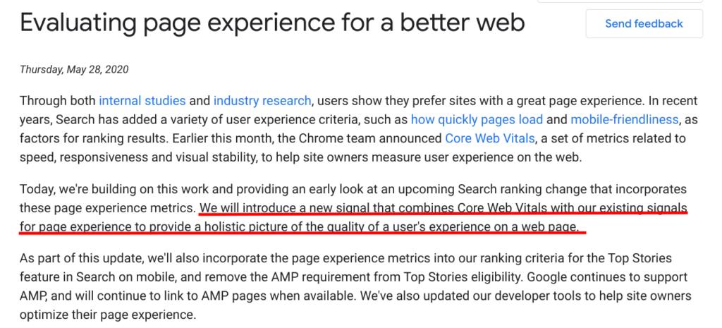 uporaniska izkusnja strani core web vitals